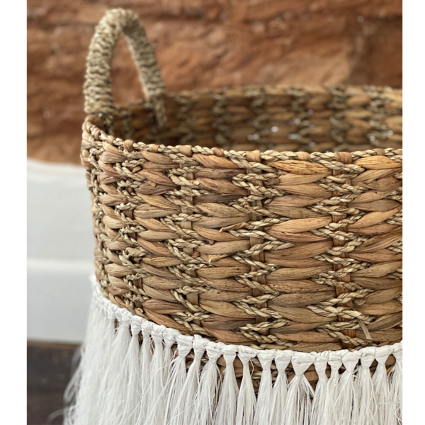 Natural and White Wicker Basket set