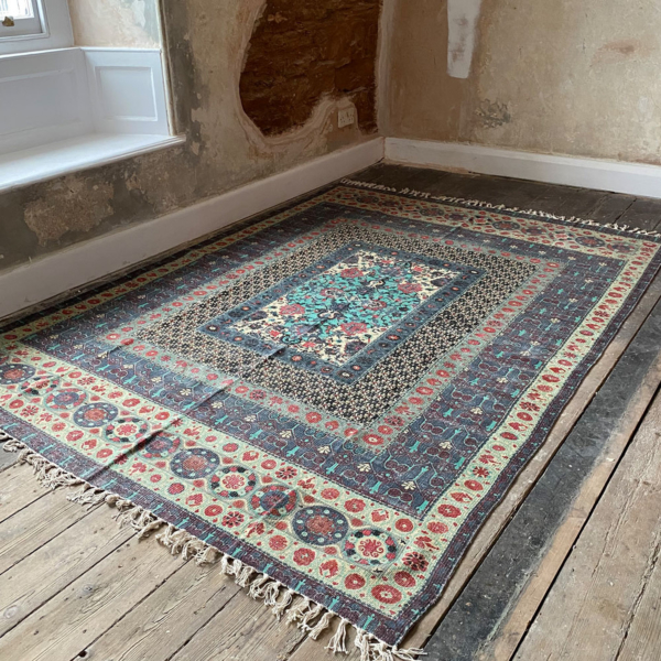 BINA Aqua Blue Patterned Rug