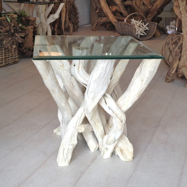 Bleached Driftwood Side Table