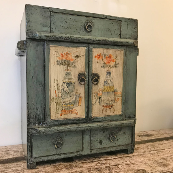 Deep Teal Lacquered Mini Cabinet B