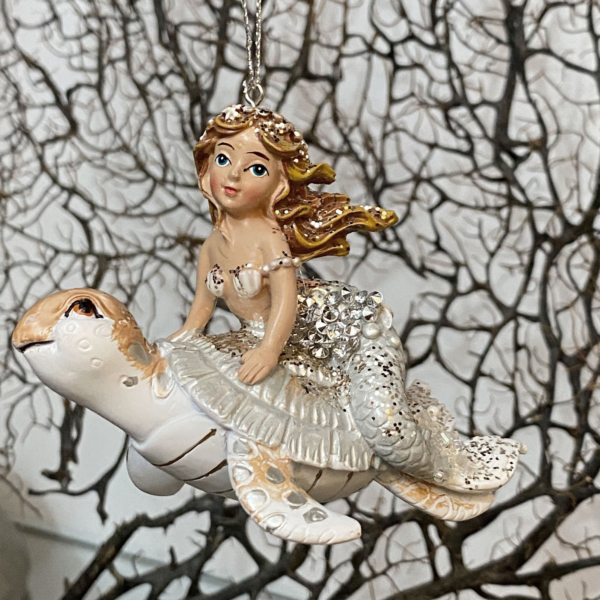 Glass Mermaid Riding on a Turtle Ornament