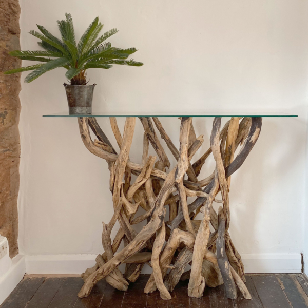 Tall Natural Driftwood Console Table