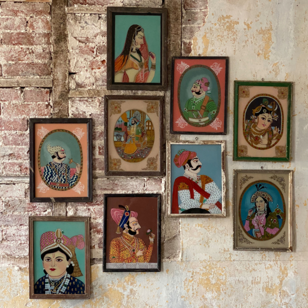 Vintage Indian Glass Paintings