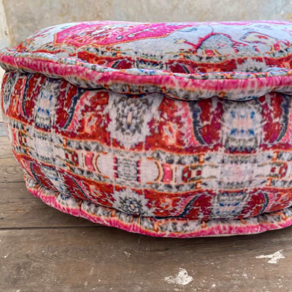 Pink Patterend Cotton Velvet Pouffe