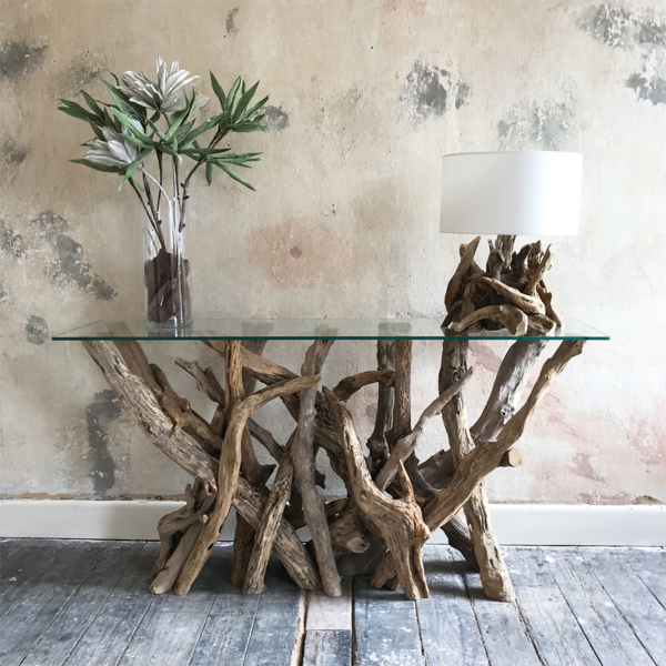 Long Driftwood Console Table