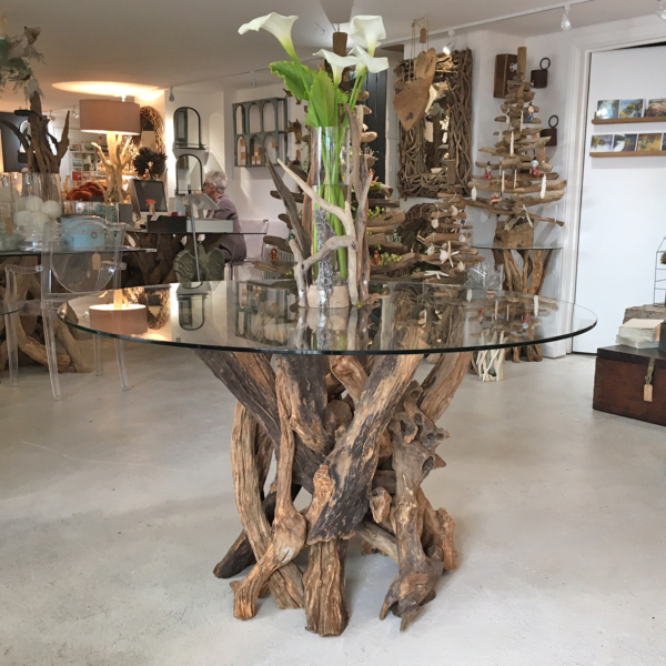 Natural Driftwood Round Dining Table seats 6-8