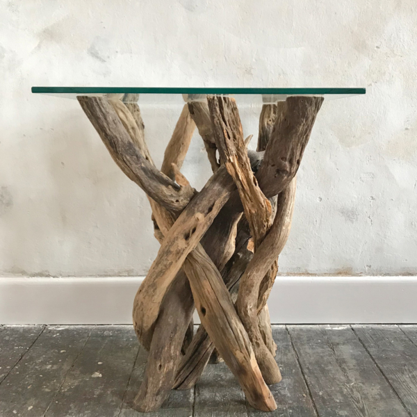Natural Driftwood Side Table H65cm