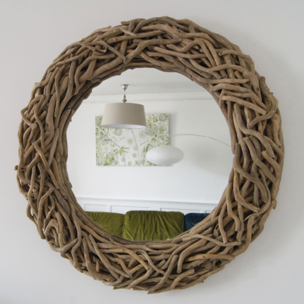 Round Entwined Driftwood Mirror