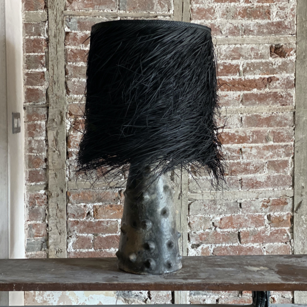 Small PALM  Black Clay Table Lamp