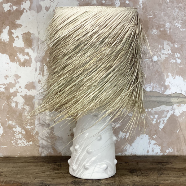 PALM Handmade White Clay Table Lamp - LARGE