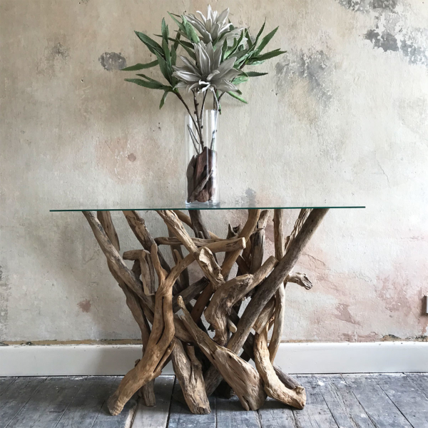 Natural Driftwood Console Table