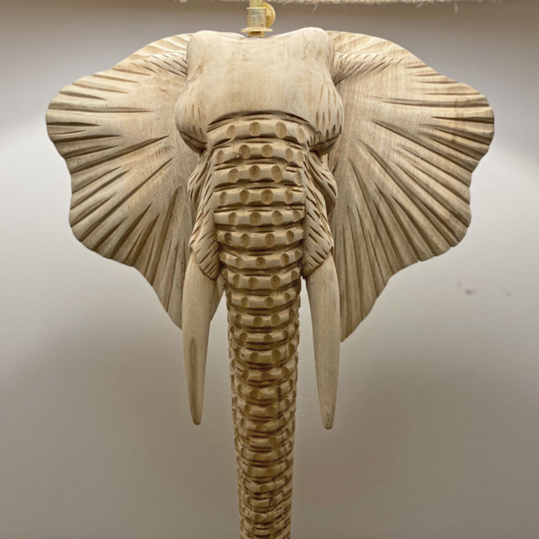 Teak Carved Elephant Table Lamp with shade
