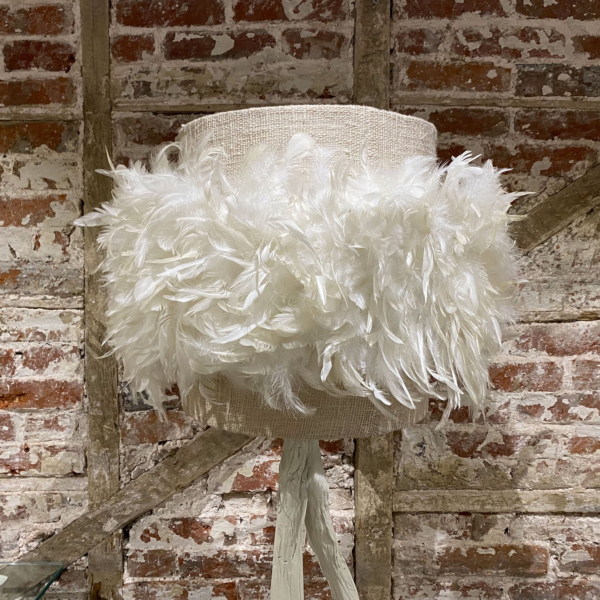 Linen and Feather Lamp Shade