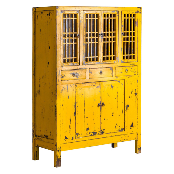Distressed Mustard Cabinet