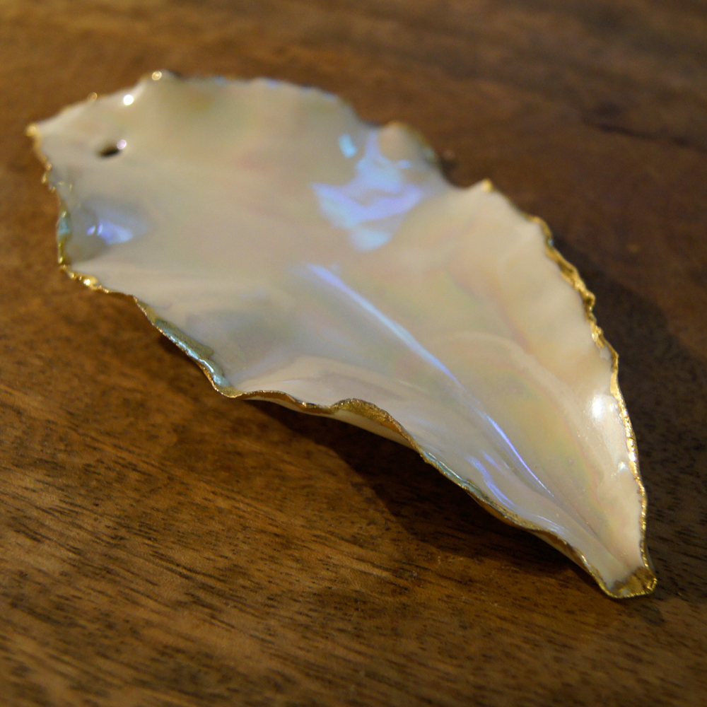 Mother of Pearl Lustre & Bright Gold Hanging Leaves